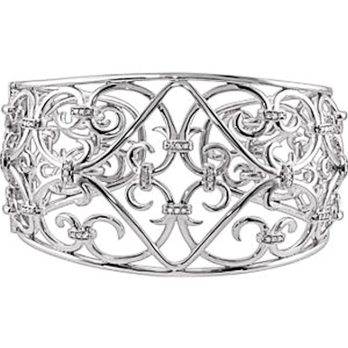 Sterling Silver 0.33 ct tw Diamond Cuff Bracelet