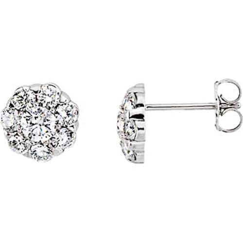 14Kt White Gold 0.375 ct tw Diamond Cluster Earrings