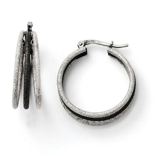 Sterling Silver Triple Hoop Earrings
