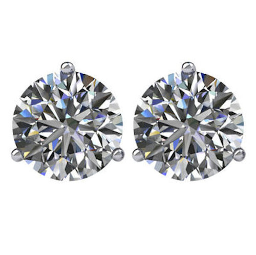 3-Prong Cocktail Round 2.0 CT TW Stud Earrings