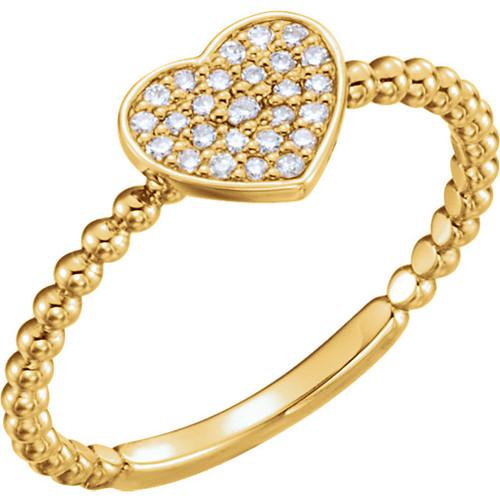 Beaded Diamond Petite Heart Ring