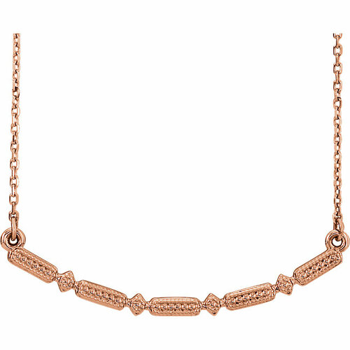 Gold Beaded Bar Necklace