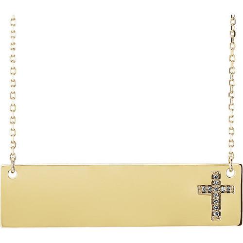 Engravable Diamond Cross Necklace