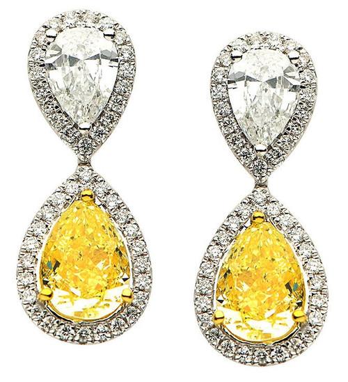 Fancy Yellow Diamond Earrings 6.01 Ct Tw