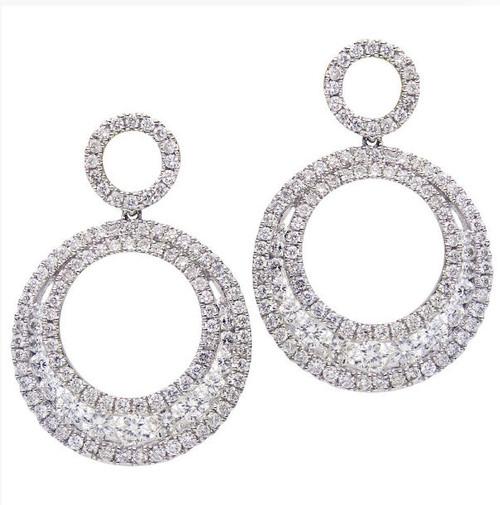 Circular Diamond Drop Earrings 1.88 Ct Tw.
