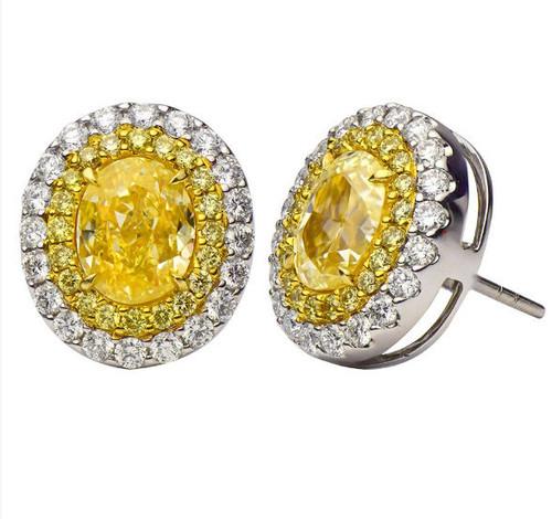 Fancy Yellow Oval Halo Diamond Earrings