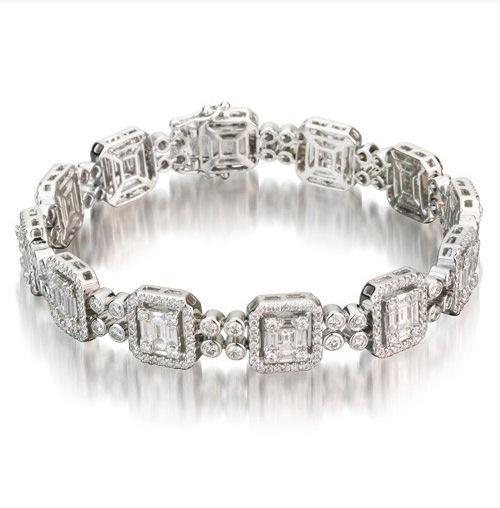 6.24 Ct Tw Baguette & Round Diamond Bracelet