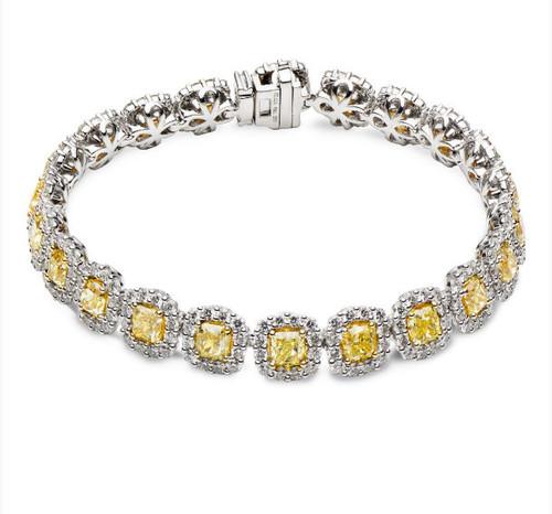 15.0 Ct Tw Fancy Yellow Diamond Bracelet
