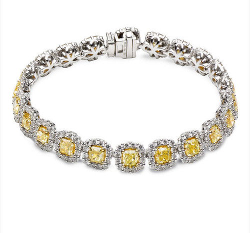 15.0 Ct Tw Fancy Yellow Diamond Bracelet