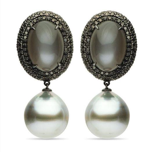 Moonstone, Tahitian Pearls, and Diamond Drop Earrings