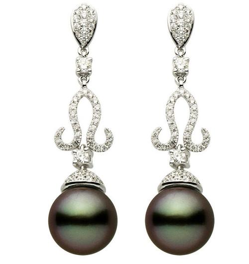 Black Tahitian & Diamond Earrings