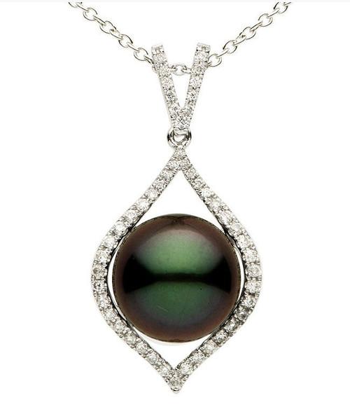 12 MM Tahitian Pearl & Diamond Pendant