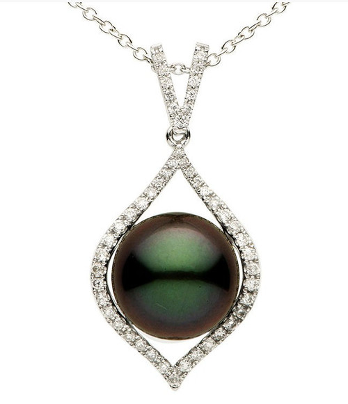 12 MM Tahitian Pearl & Diamond Pendant