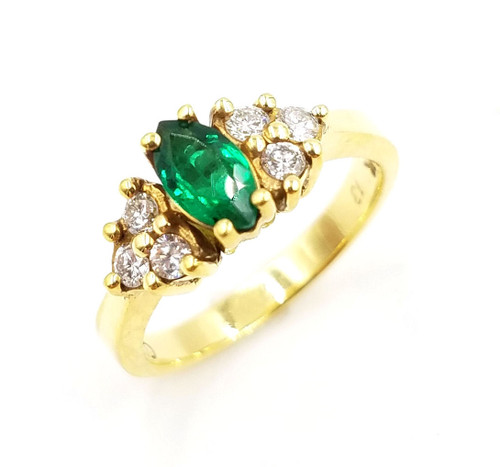 Diamond & Marquise Emerald Ring