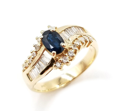0.65 Ct Tw Diamond & Sapphire Ring