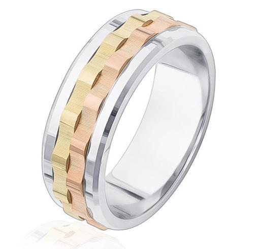 14Kt Tri-Color 8.0 MM Wedding Ring