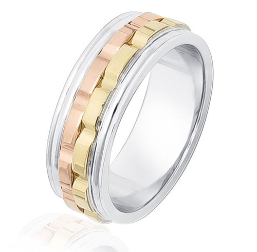 14Kt Tri-Color Ridge Design Wedding Band