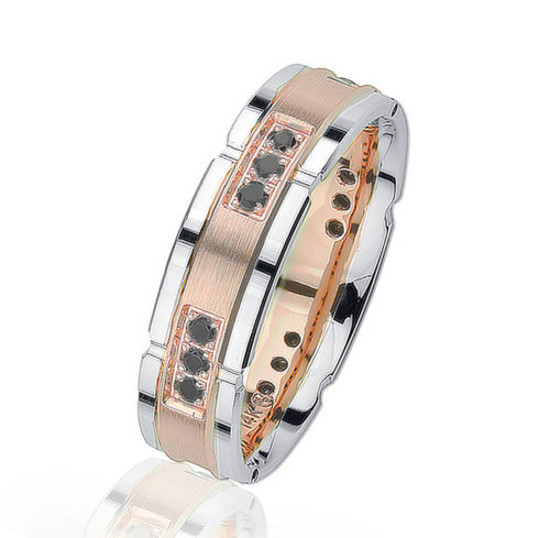 Black Diamond Two-Tone Wedding Ring