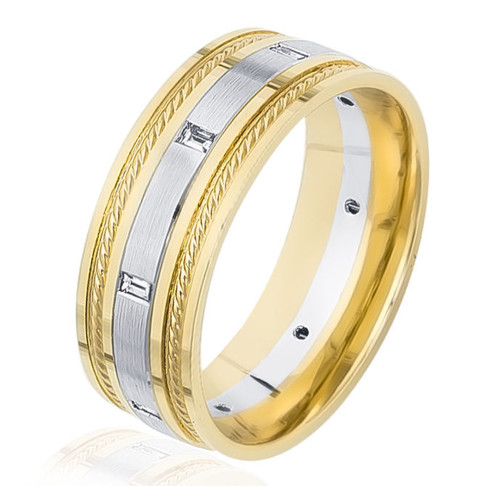0.18 Ct Tw Diamond Two-Tone Band