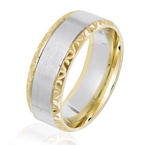 Two-Tone Gold Beveled Wedding Ring