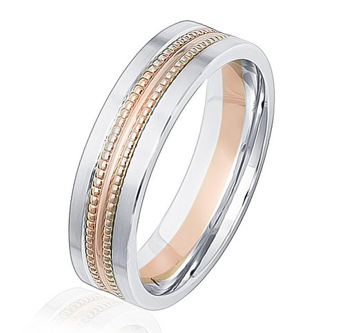 Beaded Comfort Fit Wedding Band