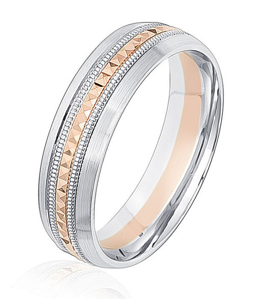 Rose & White Gold Patterned Wedding RIng