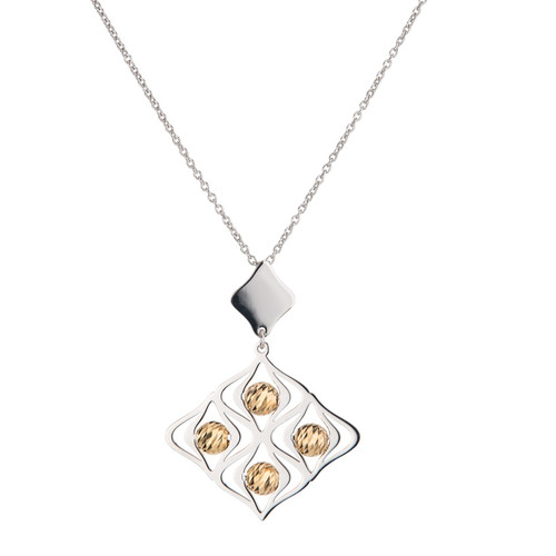 Sterling Silver Gold Overlay Lustrous Necklace