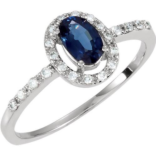 Diamond & Blue Sapphire Halo Ring