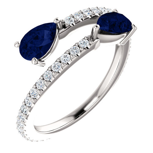 Chatham Created Sapphire & Diamond Bypass Ring