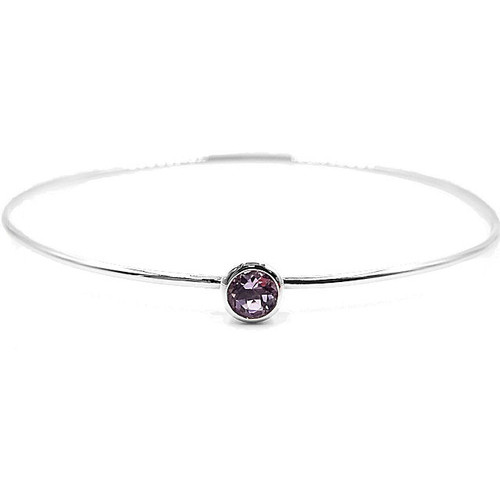 Genuine Amethyst Silver Bangle