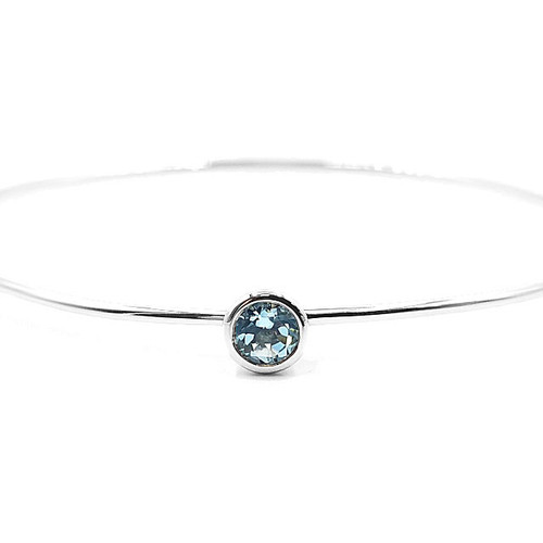 Genuine Sky Blue Topaz Bangle Bracelet
