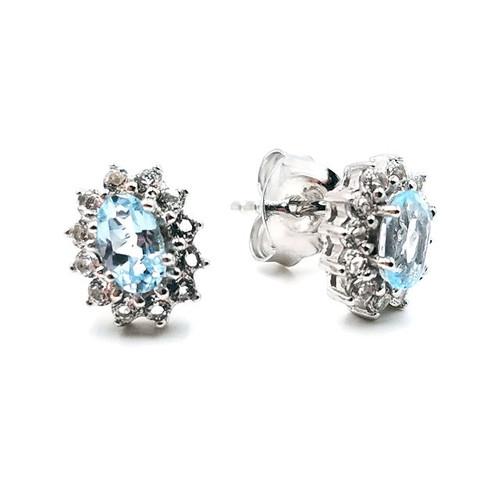Sky Blue & White Topaz Halo Earrings