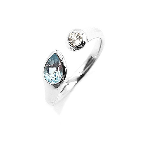 Sky Blue & White Topaz Ring