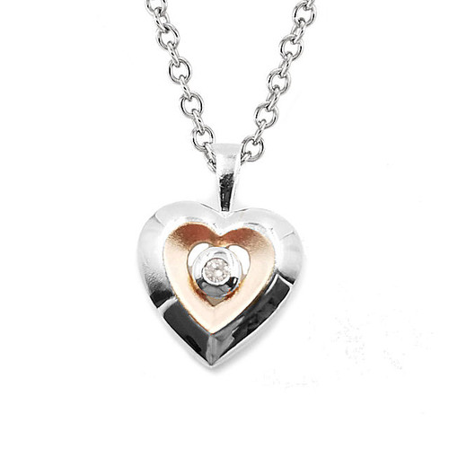 Rose Gold Silver Heart Pendant