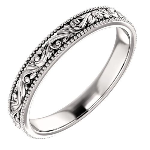 Engraved Milgrain Wedding Band