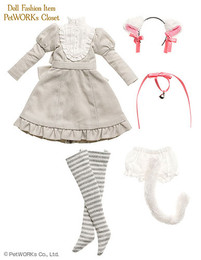 PetWORKs Closet - Gray Cat One-piece Dress Set