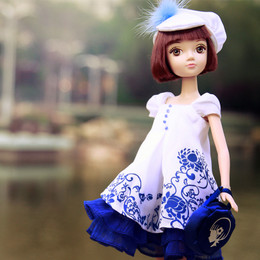 Kurhn Doll 7th Anniversary Blue and White Porcelain