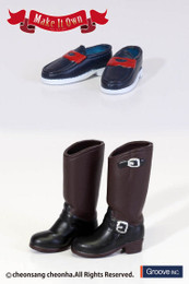 MS-010 - MIO Pullip Engineer Boots (Dark Brown) x Loafers (Blue ,Red)