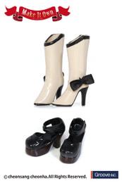 MS-002 - MIO Pullip Boots (Beige) x Strap Shoes (Black)