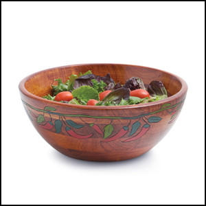 Engraved Bowl Collection, Chili Pepper Salad Bowl, 12-Inch