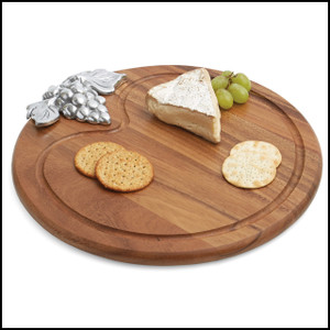 Acacia Wood Serving Board w/ Metal Accent, Round, 13 1/2-Inch, ONLY 1 IN STOCK