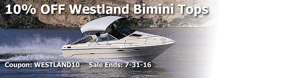 10% off Westland Bimini Tops. Use Code: Westland10