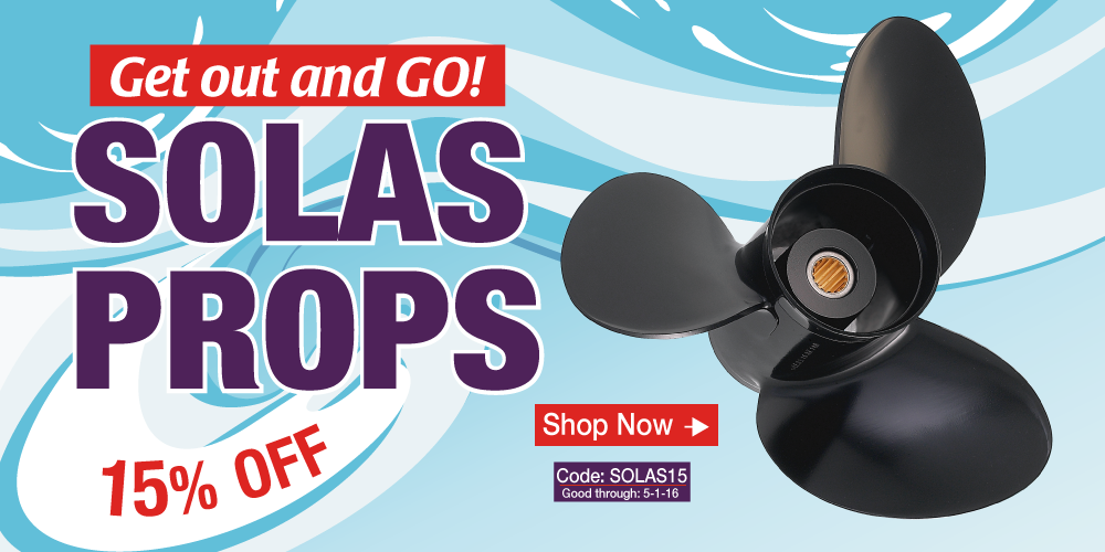 15% off Solas Boat Propellers - Use Coupon Code SOLAS15