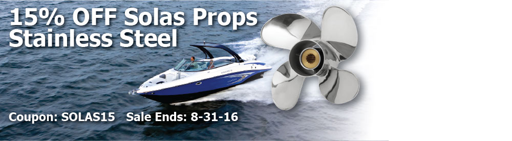 15% off Solas Stainless Steel Propellers