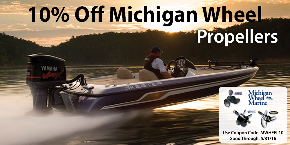 10% off Michigan Wheel Boat Propellers: Coupon Code MWHEEL10