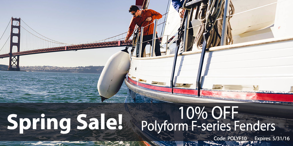 10% off Polyform F Series Fenders: Coupon Code POLYF10