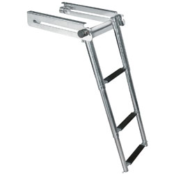 A 3-step telescoping swim platform ladder that is fully extended
