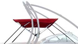 Bimini top for boats with towers