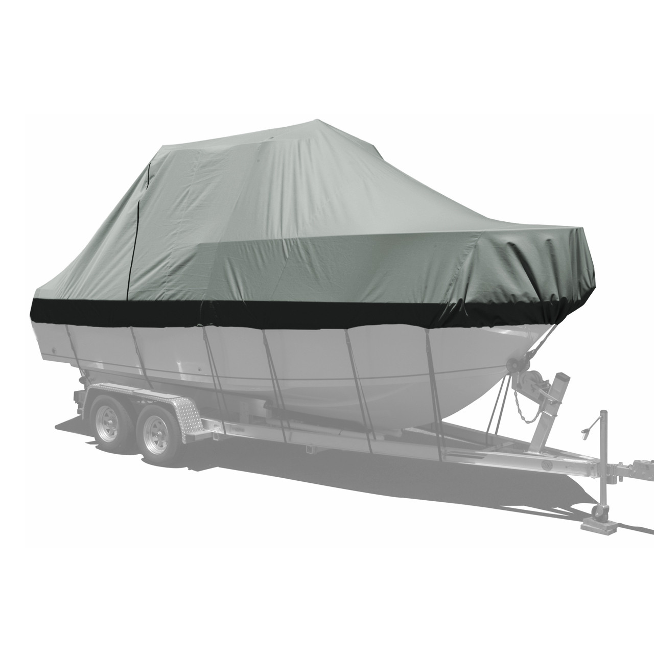 Carver custom boat cover with haze gray double duck canvas