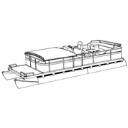 Cover Fits Pontoon with Fold-Down Type Hard Top and Rails that Partially Enclose Deck Leaving 1'-3' of Open Deck Forward of Front Gate